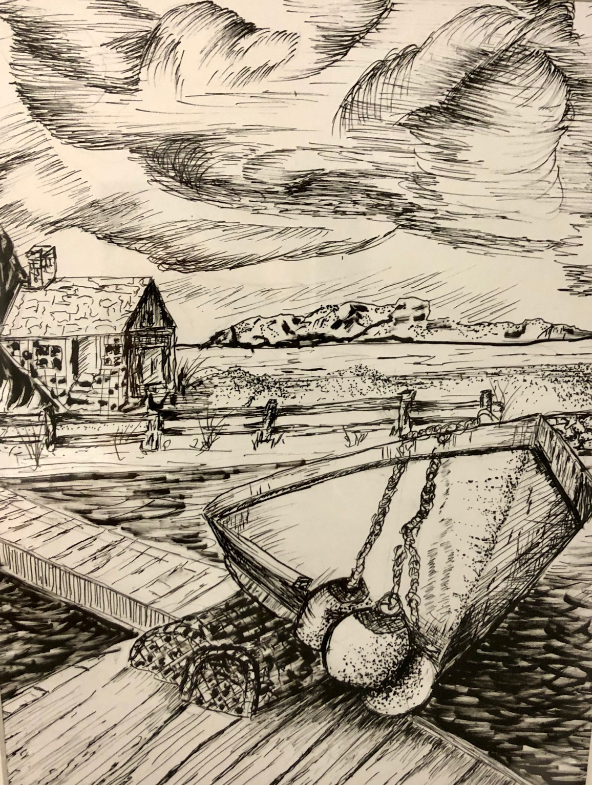 pen and ink art boat dock
